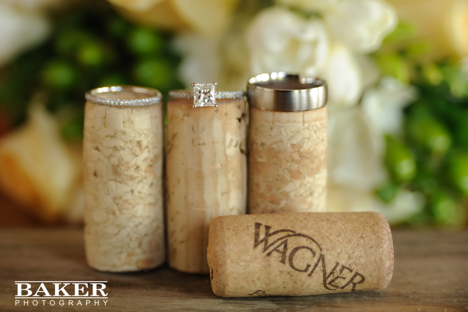 Wedding rings on corks – Photo credit Baker Photography