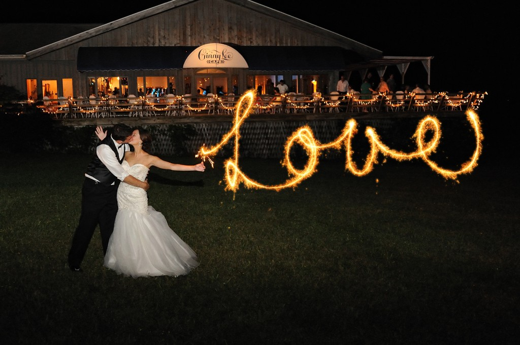 """Love"" sparklers at the Ginny Lee Cafe at night – Photo credit Baker Photography"