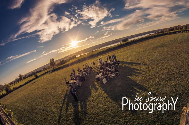 Bridal Party in front of sunset – Photo credit Lee Speary Photography