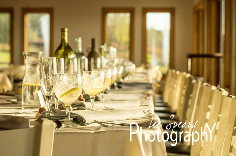 Long table reception setup – Photo credit Lee Speary Photography